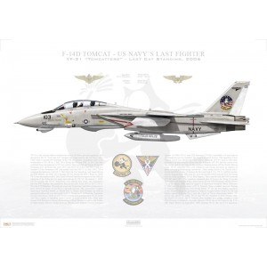 F-14D Tomcat VF-31 Tomcatters, AJ103 / 164350. LAST CAT STANDING, 2006 Squadron Lithograph
