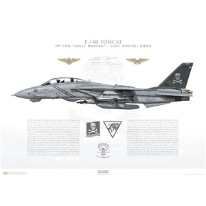 F-14B Tomcat VF-103 Jolly Rogers, AA101 / 162705. CVW-17, USS John F. Kennedy CV-67 - Last Cruise, 2004 Squadron Lithograph