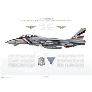 F-14D Tomcat VF-2 Bounty Hunters, NE100 / 163894. CVW-2, USS Constellation CV-64 - Last Tomcat Cruise, 2003 Squadron Lithograph