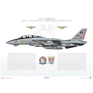 F-14A Tomcat VF-211 Checkmates, AB101 / 161603. CVW-1, USS Enterprise CVN-65- 2004, Final Tomcat Cruise Squadron Lithograph