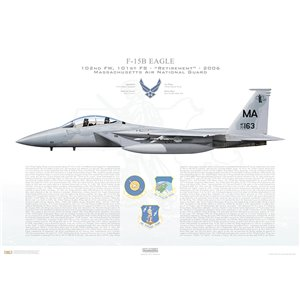 F-15B Eagle 102nd Fighter Wing, 101st Fighter Squadron, MA/77-0163 - Massachusets Air National Guard - Otis ANGB/AFB, MA - 2006 Squadron Lithograph