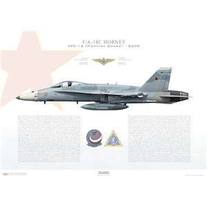 F/A-18C Hornet VFC-12 Fighting Omars, AF01 / 164655. TSW - 2009 Squadron Lithograph