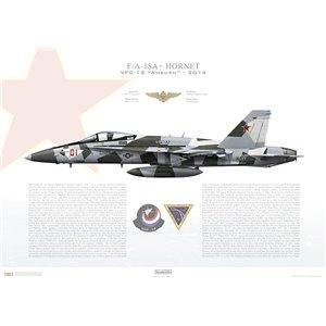 F/A-18A+ Hornet VFC-12Ambush, AF01 / 162904. TSW - 2014 Squadron Lithograph