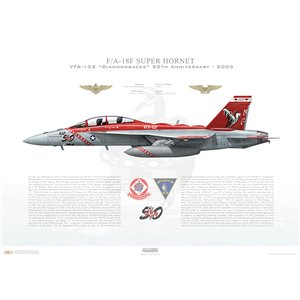 F/A-18F Super Hornet VFA-102 Diamondbacks, NF102 / 165882. CVW-5, USS Kitty Hawk CV-63 - 50th Anniversary, 2005 Squadron Lithograph