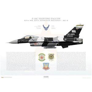 F-16C Fighting Falcon 57th Wing, 64th Aggressor Squadron, WA/86-0280 - Nellis AFB, NV - 2012 Squadron Lithograph