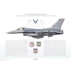 "F-16C Fighting Falcon 10th Air Force, 301st Fighter Wing, 457th Fighter Squadron ""Spads"", TX/86-222 - Fort Worth JRB, TX - 2007 Squadron Lithograph"