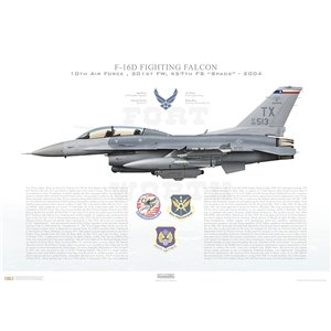 "F-16D Fighting Falcon 10th Air Force, 301st Fighter Wing, 457th Fighter Squadron ""Spads"", TX/85-513 - Fort Worth JRB, TX - 2004 Squadron Lithograph"