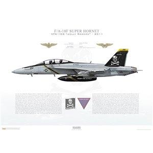 F/A-18F Super Hornet VFA-103 Jolly Rogers,AG200 / 166620. CVW-7, USS Dwight D. Eisenhower CVN-69 - 2011 Squadron Lithograph