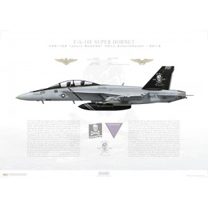 F/A-18F Super Hornet VFA-103 Jolly Rogers, AG200 / 166620 - 70th Anniversary, CVW-7, USS Dwight D. Eisenhower CVN-69 - 2013 Squadron Lithograph