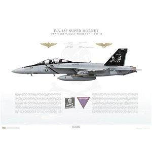 F/A-18F Super Hornet VFA-103 Jolly Rogers, AG201 / 166621. CVW-7, USS Dwight D. Eisenhower CVN-69 - 2013 Squadron Lithograph