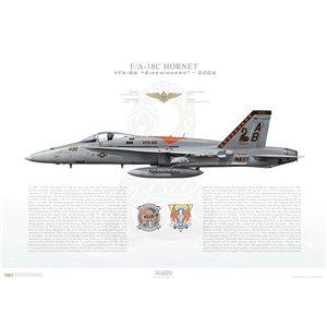 F/A-18C Hornet VFA-86 Sidewinders, AB400 / 165200. CVW-1, USS Enterprise CVN-65 - 2006 Squadron Lithograph
