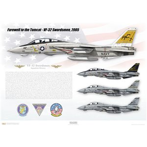 "Farewell to the Tomcat, VF-32 Swordsmen, 2005    Size: Standard - 24 x 16"" / 594 x 420mm Squadron Lithograph"