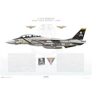 F-14A Tomcat VF-84 Jolly Rogers, AJ200 / 161410. CVW-8, USS Nimitz CVN-68 - 1987 Squadron Lithograph