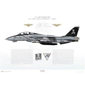 F-14B Tomcat VF-103 Jolly Rogers, AA103 / 161435. CVW-17, USS George Washington CVN-73, 2001 Squadron Lithograph