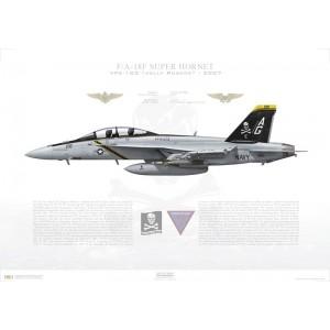 F/A-18F Super Hornet VFA-103 Jolly Rogers, AG200 / 166620. CVW-7, USS Dwight D Eisenhower CVN-69 - 2007 Squadron Lithograph