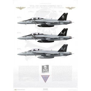 "VFA-103 Jolly Rogers Homecoming 2013 LIMITED EDITION: Only 50 individually numbered prints are produced! Size: Standard - 24 x 16"" / 594 x 420mm Squadron Lithograph"