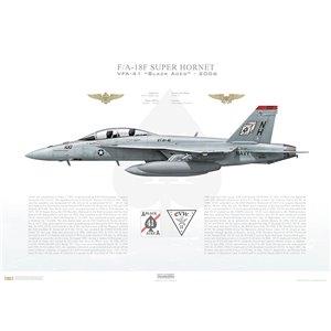 F/A-18F Super Hornet VFA-41 Black Aces, NH100 / 166455. CVW-11, USS Nimitz CVN-68, 2006 Squadron Lithograph
