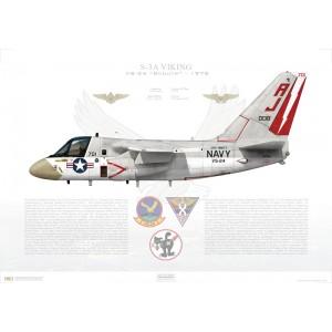 S-3A Viking VS-24 Scouts, AJ701 / 160138. CVW-8, USS Nimitz CVN-68 - 1978 Squadron Lithograph
