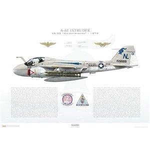 A-6E Intruder VA-52 Knightriders, NL501 / 155689. CVW-15, USS Kitty Hawk CV-63 - 1979 Squadron Lithograph
