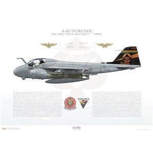 A-6E Intruder VA-196 Main Battery, NK500 / 152905. CVW-14, USS Independence CV-62 - 1990 Squadron Lithograph