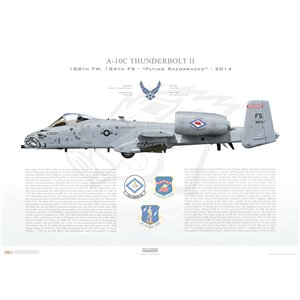 A-10C Thunderbolt II 188th FW, 184th FS Flying Razorbacks, FS/80-188. Fort Smith ANGS, AR - 2014 Squadron Lithograph