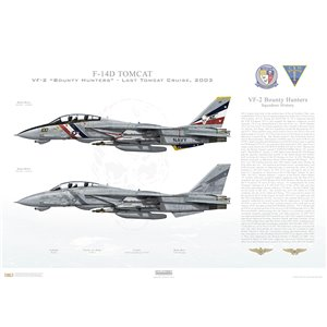"F-14D Tomcat VF-2 Bounty Hunters, NE100 / 163894 and NE105 / 163418. CVW-2, USS Constellation CV-64 - Last Tomcat Cruise, 2003   Size: Standard - 24 x 16"" / 594 x 420mm Squadron Lithograph"
