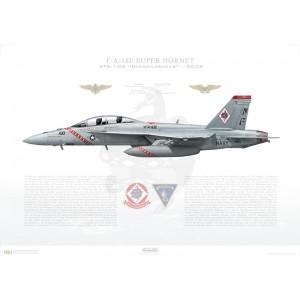 F/A-18F Super Hornet VFA-102 Diamondbacks, NF100 / 165878. CVW-5, USS Kitty Hawk CV-63, 2005 Squadron Lithograph