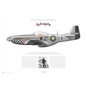 """P-51D-20 Mustang, 44-72218 / WZ-I""""Big Beautiful Doll"""" - 78th FG, 84th FS- Duxford, England,March 1945. Flown by Lt. Colonel John D. Landers  Squadron Lithograph"""