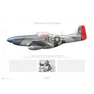 """P-51D-15 Mustang, 44-14906 /PE-P""""Cripes A' Mighty"""" -352nd FG, 328th FS- Asch, Belgium,1944. Flown by Major George E Preddy  Squadron Lithograph"""