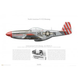 "P-51D-5 Mustang, 44-13500 / HL-N ""Flying Dutchman"" - 31st FG, 308th FS - San Severo, Italy, August 1944. Flown by Lt. Robert J. Goebel   Squadron Lithograph"
