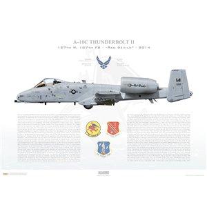 A-10C Thunderbolt II 127th W, 107th FS Red Devils, FS/80-265.Selfridge ANGB,MI- 2014 Squadron Lithograph