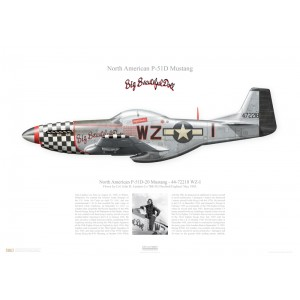 """P-51D-20 Mustang, 44-72218 / WZ-I""""Big Beautiful Doll"""" - 78th FG, 84th FS- Duxford, England,May 1945. Flown by Lt. Colonel John D. Landers  Squadron Lithograph"""