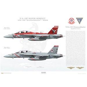 "F/A-18F Super Hornet VFA-102 Diamondbacks, NF100 / 165878 and NF102 / 165882. CVW-5, USS Kitty Hawk CV-63 - 2005  Size: Standard - 24 x 16"" / 594 x 420mm Squadron Lithograph"