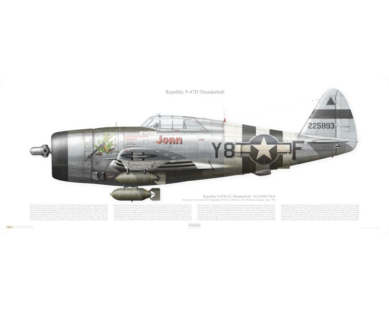 Aircraft profile print of P-47D Thunderbolt