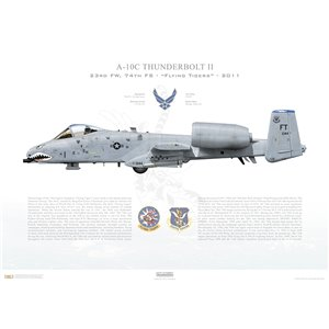 A-10C Thunderbolt II 23d W, 74th FS Flying Tigers, FT/80-144. Moody AFB, GA - 2011 Squadron Lithograph