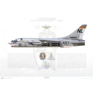 F-8D(F8U-2N)Crusader VF-154 Black Knights,NL414 / 148694. CVW-15, USSCoral SeaCVA-43, 1965 Squadron Lithograph