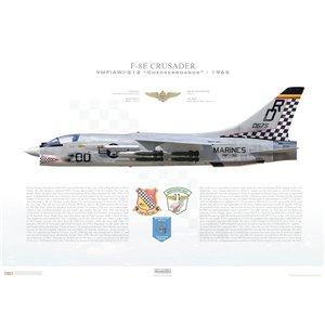 F-8E(F8U-2NE)Crusader VMF(AW)-312 Checkerboards,DR00 / 150675. MAG-11, DaNang Air Base, Vietnam - 1965 Squadron Lithograph