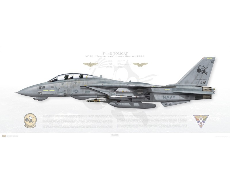 aircraft profile print of f-14d tomcat vf-31 tomcatters  aj102    163904    2006