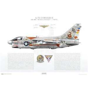 A-7E Corsair II VA-86 Sidewinders, AJ400 / 159292. CVW-8, USS Nimitz CVN-68 - 1977 Squadron Lithograph