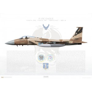F-15C Eagle 144th Fighter Wing, 194th Fighter Squadron, CA/78-480 - California Air National Guard - Fresno ANG Base, CA - 2014 Squadron Lithograph