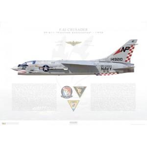 F-8JCrusader VF-211 Fighting Checkmates,NP112 / 149210. CVW-21, USSHancockCVA-19 - 1972 Squadron Lithograph