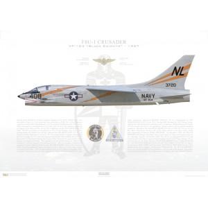 F-8A(F8U-1)Crusader VF-154 Black Knights,NL408 / 143720. CVW-15, NAS Moffett Field, CA, 1957 Squadron Lithograph