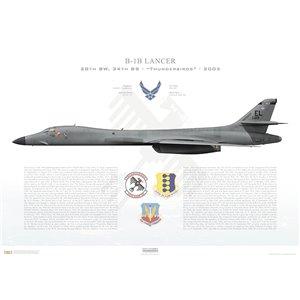 """B-1BLancer 28th BW, 34th BS Thunderbirds, EL/86-129 """"Black Widow"""". Ellsworth AFB, SD- 2005 Squadron Lithograph"""