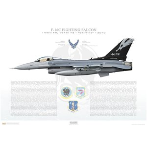 F-16C Fighting Falcon 144th Fighter Wing, 194th Fighter Squadron, CA/87-301 - California Air National Guard - Fresno ANG Base, CA - 2010 Squadron Lithograph