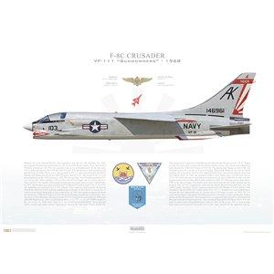 F-8CCrusader VF-111 Sundowners,AK103 / 146961. CVW-10, USSIntrepidCVS-11, 1968 Squadron Lithograph