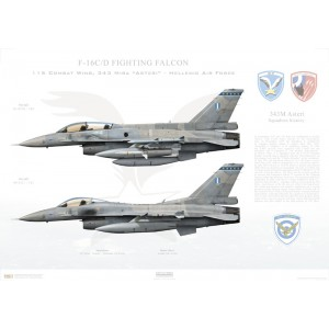 "F-16C/D Fighting Falcon 01-8536/99-1511, 343 Mira Asteri / 115 Combat Wing, Souda AB, Crete, Greece  Size: Standard - 24 x 16"" / 594 x 420mm Squadron Lithograph"