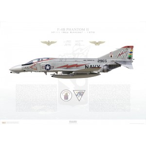 F-4BPhantom II VF-11 Red Rippers,AA100 / 152965. CVW-17, USSForrestalCV-59, 1970 Squadron Lithograph