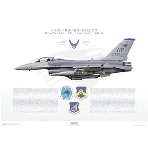 "F-16C Fighting Falcon 8th Fighter Wing ""Wolfpack"", 35th Fighter Squadron ""Pantons"", WP/90-724 - Kunsan AFB, Republic of Korea Squadron Lithograph"