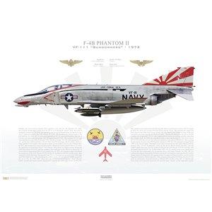 F-4BPhantom II VF-111 Sundowners,NL201 / 153019. CVW-15, USSCoral SeaCVA-43, 1972 Squadron Lithograph