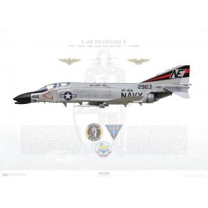 F-4BPhantom II VF-154 Black Knights,NE456 / 152983. CVW-2, USSCoral SeaCVA-43, 1966 Squadron Lithograph